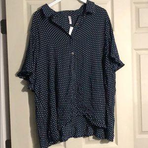 Navy and white polka dot blouse
